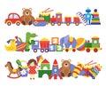 Toys pile. Groups of children plastic game kids toys elephant teddy bear train rocket ship doll dino vector