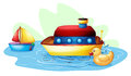 Toys at the pond illustration of on a white background Royalty Free Stock Photography