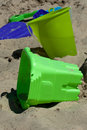 Toys for sand castles colorful plastic are wonderful tools building Stock Image
