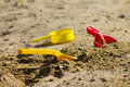 Toys in the sandbox colorful Royalty Free Stock Photography