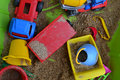 Toys in the sandbox dirty color plastic Royalty Free Stock Images