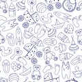 Toys seamless pattern. Figure Doodle blue on a white background for children. Vector.