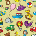 Toys seamless pattern vector with collection of cute Royalty Free Stock Image
