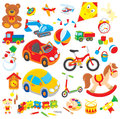 Toys set of colorful children s in cartoon style on a white background Stock Photography