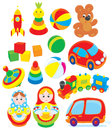 Toys set of colorful isolated clip arts Stock Images