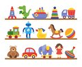 Toys on shelves. Cartoon toy on baby shopping wooden shelf. Dinosaur robot car doll isolated vector Royalty Free Stock Photo