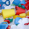 Toys and snow Royalty Free Stock Photo