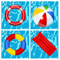 Toys in the swimming pool Royalty Free Stock Photo