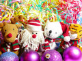 Toys, a tiger, Santa Klaus, a deer and a bear Royalty Free Stock Photos
