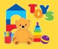 Toys on yellow horizontal