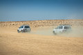 Tozeur tunisia august image of off road cars in the dese desert sahara Royalty Free Stock Photography