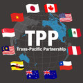 Tpp trans pacific partnership and negotiating countrie s flags vector illustration Stock Photography