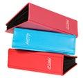 Três cores azul dos álbuns de fotografia rosa vermelho e Fotos de Stock
