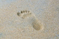 Trace of a bare foot on wet sand Royalty Free Stock Photo