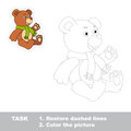 Trace game for children. One cartoon bear toy to Royalty Free Stock Photo