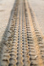 Trace of tire in sand Royalty Free Stock Photo