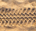 Trace tyre sand Royalty Free Stock Photo