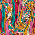 Tracery mehndi ethnic ornament indifferent discreet calming motif usable doodling colorful harmonious design vector seamless Stock Photo