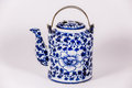 Tracery tea pot a blue ceramic Stock Photography