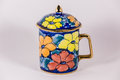 Tracery tea pot a flowers ceramic Stock Photos
