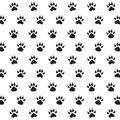 Traces of dog black and white vector pattern Stock Photo