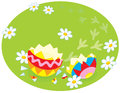 Traces of an easter chick colorfully decorated eggshell and a little on grass Royalty Free Stock Images