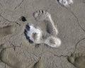 Traces of human feet in the salt marsh lakes Elton Royalty Free Stock Photo