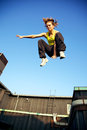 Traceur Demonstrating Parkour Stock Photography