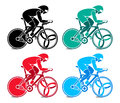 Track cyclist colorful at the competition Stock Images