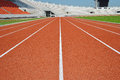 Track and field training lanes in big stadium Royalty Free Stock Photos