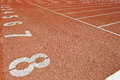 Track and field training lanes in big stadium Royalty Free Stock Images