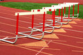 Track hurdles Stock Photo