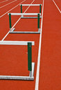 Track hurdles three on a white stripped Royalty Free Stock Images