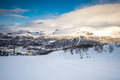 Track at snowy mountains Royalty Free Stock Photo