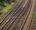 Track for trains three tracks and switches Royalty Free Stock Photos