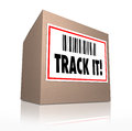 Track it words package tracking shipment logistics the with barcode on a label to trace the of a cardboard box shipped in the mail Royalty Free Stock Photography