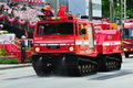 Tracked fire fighting vehicle at NDP 2010 Royalty Free Stock Photo