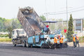 Tracked paver at asphalt pavement works for road Stock Photography
