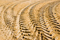 Tracks on sand from tire Royalty Free Stock Photo