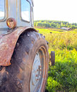 Tracktor old near the house Royalty Free Stock Photography