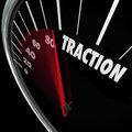 Traction Gaining Ground Momentum Speedometer Measure Progress Royalty Free Stock Photo