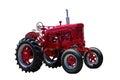 Tractor de granja rojo grande aislado en blanco Imágenes de archivo libres de regalías