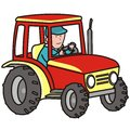Tractor driver drives a red Stock Photo