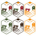 With tractor emblems set farm Royalty Free Stock Image