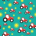 Tractor farming agriculture seamless pattern Royalty Free Stock Photo