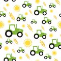 Tractor farming seamless pattern vector Royalty Free Stock Photo