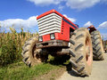 Tractor in the field harvest time Royalty Free Stock Photography