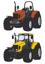 Tractor hand drawing of two tractors Royalty Free Stock Photos