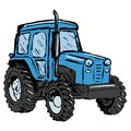 Tractor hand drawn cartoon sketch illustration of Royalty Free Stock Photo