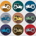 Tractor icons flat design set s emblem with long shadow Royalty Free Stock Photo
